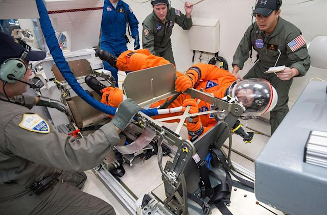 NASA tests Orion spacesuit in low-gravity environment