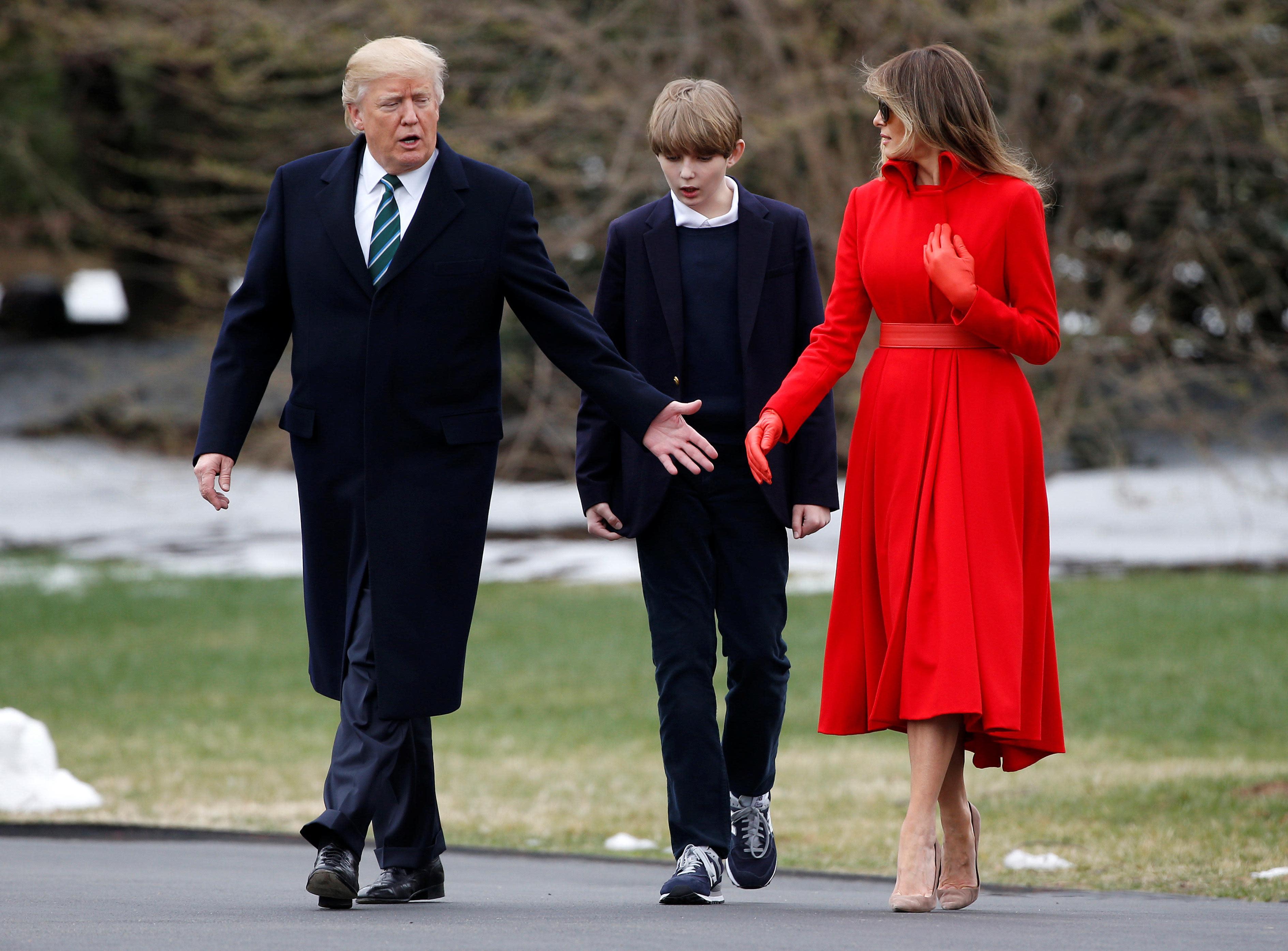 Barron Trump Makes Rare Appearance At White House