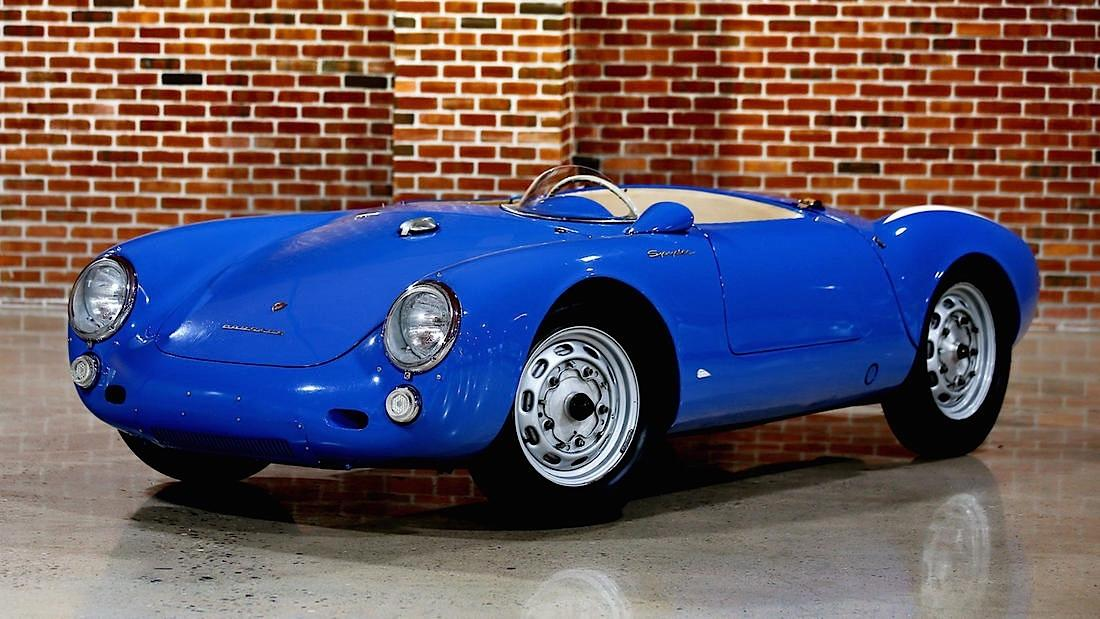 <p>The star of this trio is this 1955 Porsche 550 Spyder, one of the most successful racing cars of its era, with a top speed of 140 mph.</p>