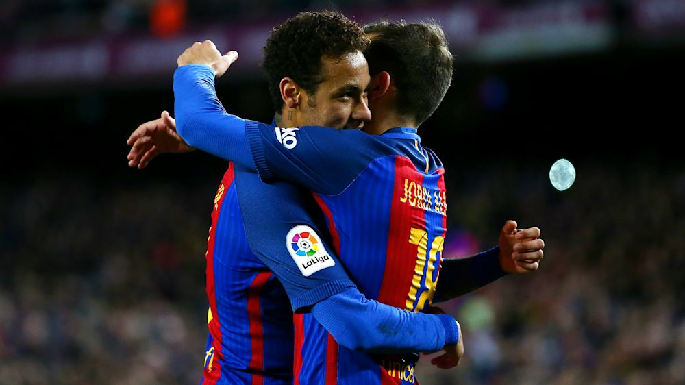 Neymar joins Messi & Suarez in Barcelona's 100 club