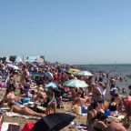 Southend beach jam-packed as heatwave hits UK