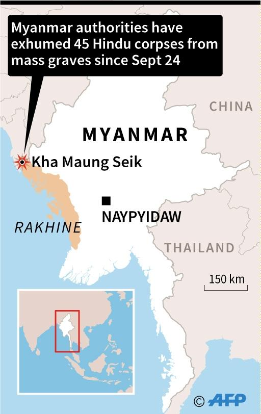 Map of Myanmar locating Kha Maung Seik in northern Rakhine state, where authorities exhumed dozens of corpses from mass graves since Sunday. (AFP Photo/AFP )