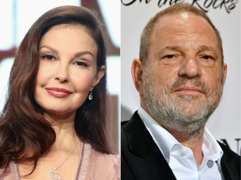 (COMBO) This combination of pictures created on July 18, 2018 shows US actress Ashley Judd (L) and disgraced film producer Harvey Weinstein (AFP Photo/Frederick M. Brown, Yann COATSALIOU)
