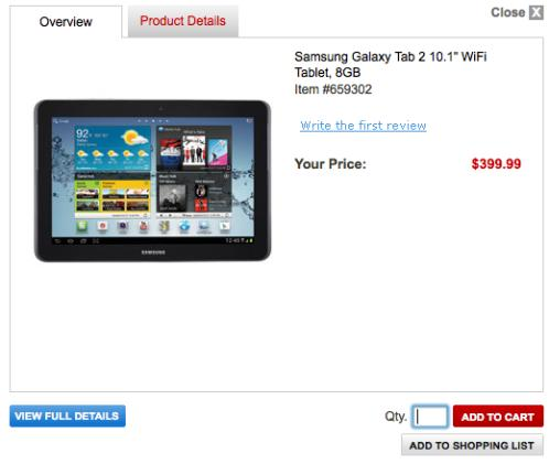 Samsung's Galaxy Tab 2 (10.1-inch) priced at $399, still unavailable for purchase