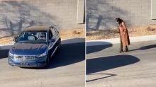 Unbelievable twist as woman struggles to parallel park