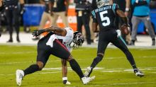 Falcons' Harris ejected after hit on Panthers' Bridgewater