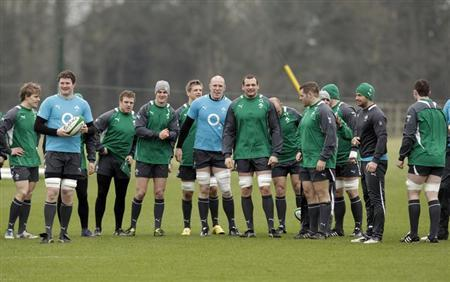 Ireland's rugby team gather for team training at their Carton House training camp in County Kildare