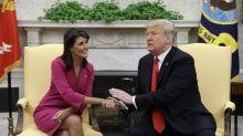 Trump-Haley announcement: President praises his 'friend' as UN Ambassador says 'US is strong again' after shock resignation