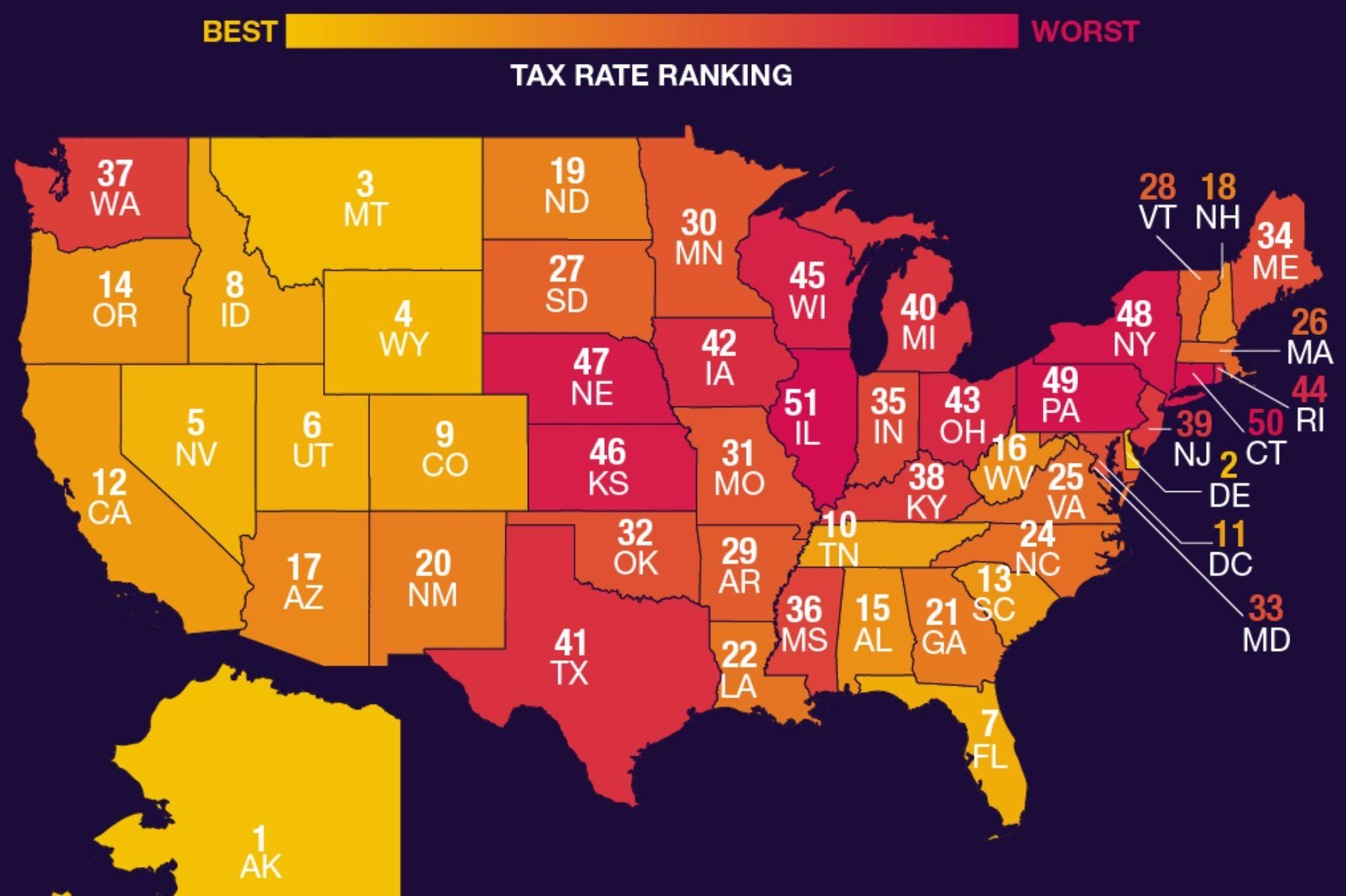 The best and worst U.S. states for taxpayers