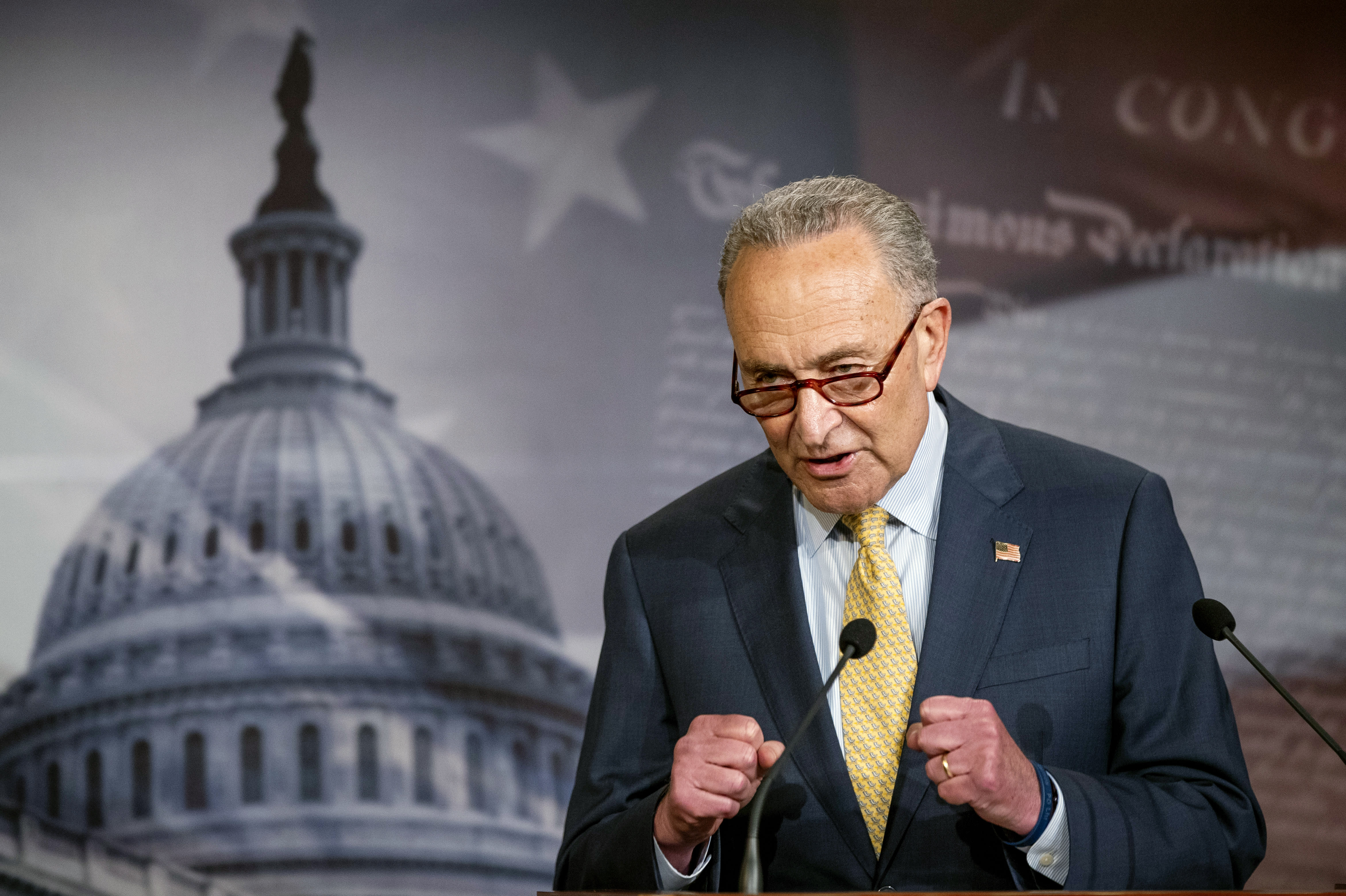 In this June 16, 2020 photo, Senate Majority Leader Chuck Schumer of N.Y., speaks during a news conference on Capitol Hill in Washington. (AP Photo/Manuel Balce Ceneta)