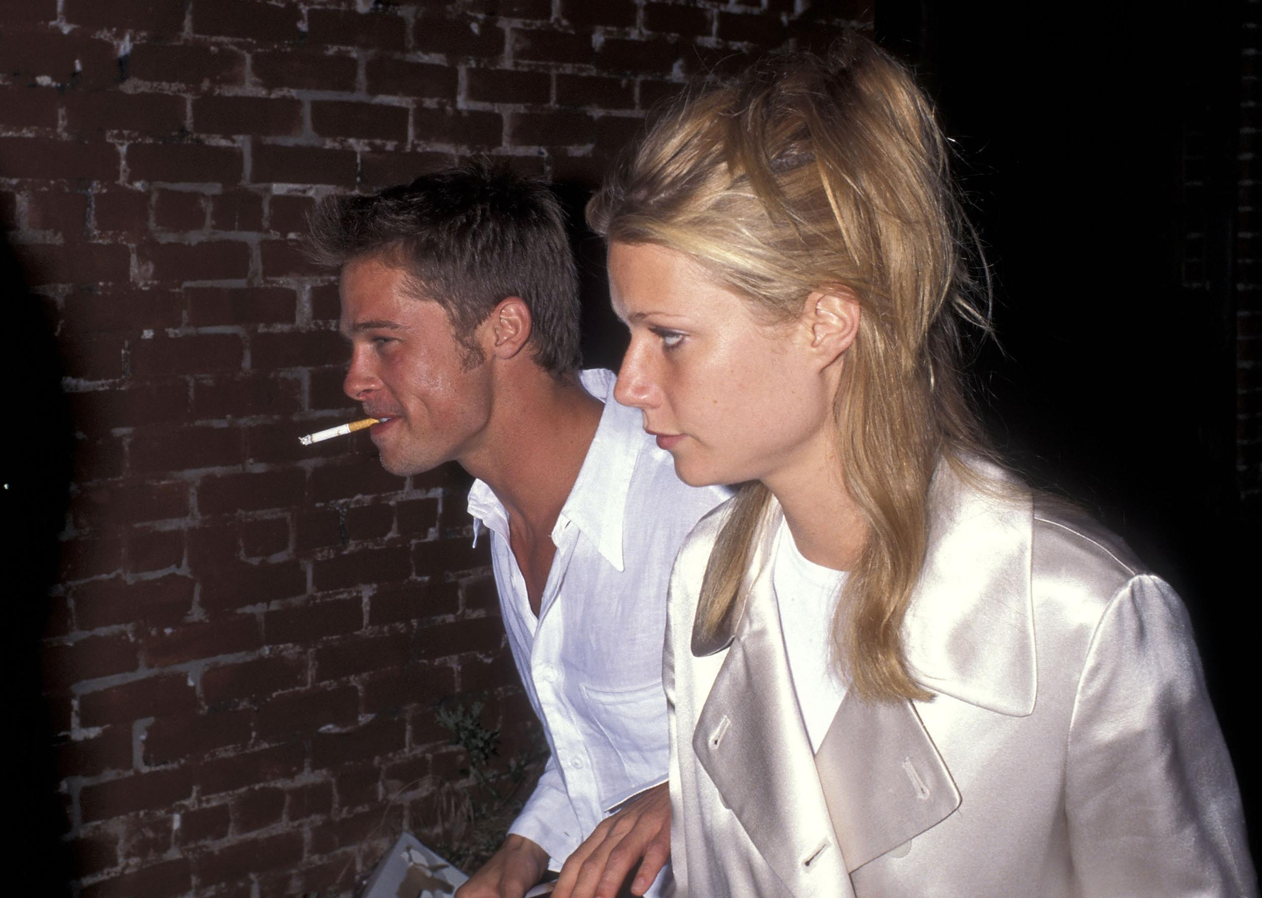 Actor Brad Pitt and actress Gwyneth Paltrow attend the 'Living in Oblivion' West Los Angeles Premiere on July 12, 1995 at the Royal Theatre in West Los Angeles, California. (Photo by Ron Galella, Ltd./WireImage)