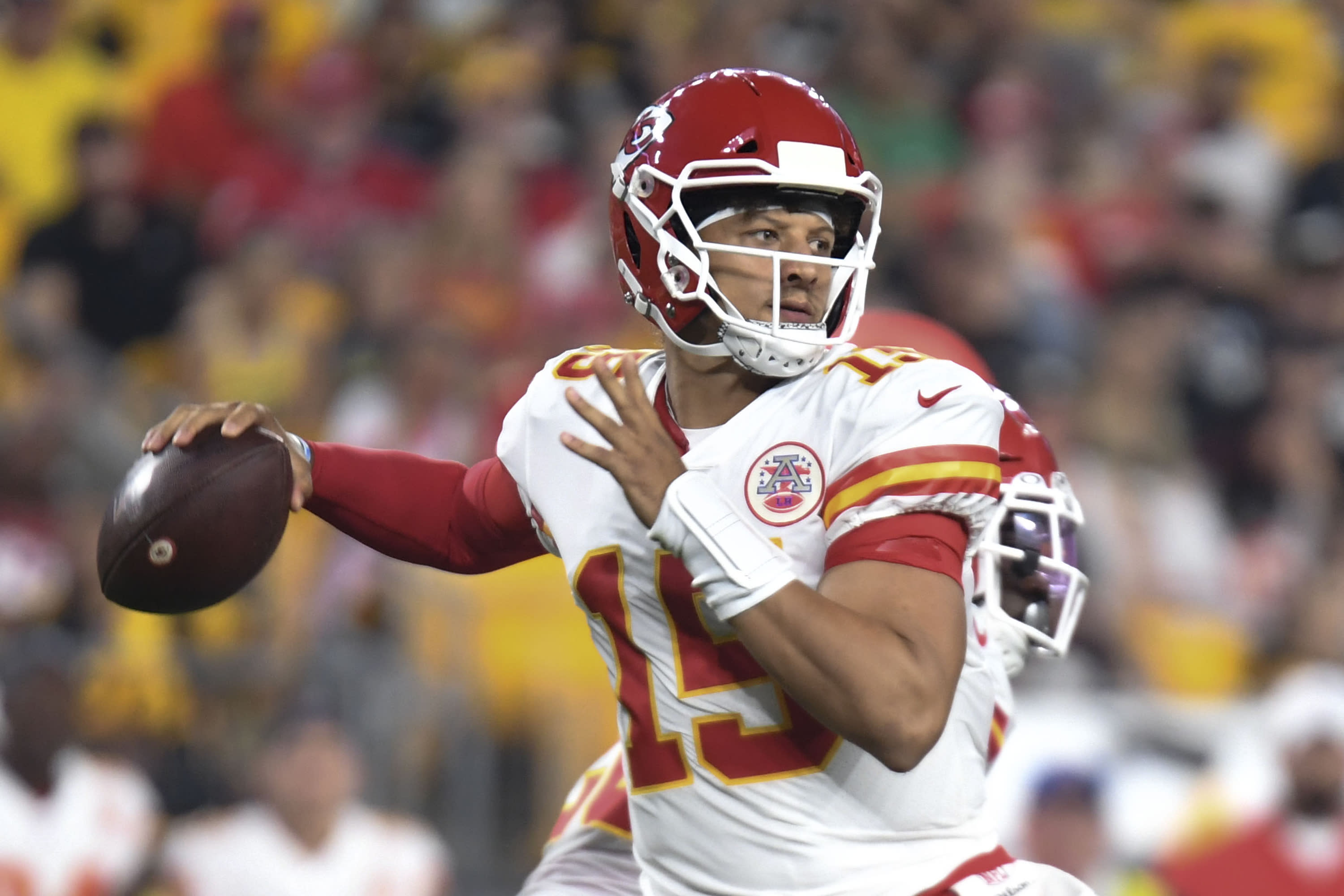 Kansas City Chiefs quarterback Patrick Mahomes passes in the first half of an NFL football game against the Pittsburgh Steelers, Saturday, Aug. 17, 2019, in Pittsburgh. (AP Photo/Barry Reeger)
