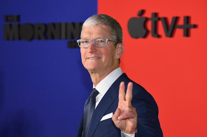 """Apple CEO Tim Cook arrives for Apples """"The Morning Show"""" global premiere at Lincoln Center- David Geffen Hall on October 28, 2019 in New York. (Photo by Angela Weiss / AFP) (Photo by ANGELA WEISS/AFP via Getty Images)"""