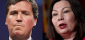 Tucker Carlson, left, and Sen. Tammy Duckworth (Yahoo Entertainment)