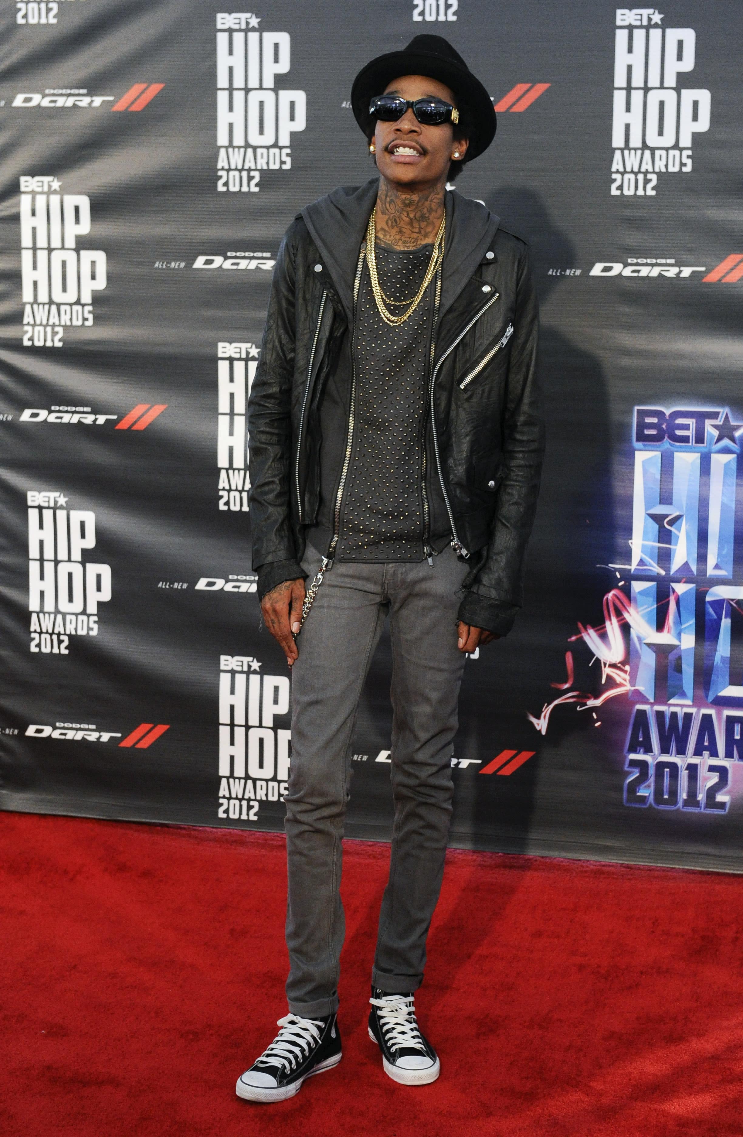 Wiz Khalifa attends the BET Hip-Hop Honors at Boisfeuillet Jones Atlanta Civic Center on Saturday, Sept. 29, 2012, in Atlanta. (Photo by John Amis/Invision/AP)