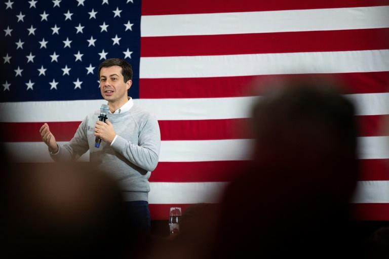 Pete Buttigieg, the mayor of South Bend, Indiana, was an unknown when he launched his campaign for president, but now is in the front rank of candidates for the Democratic nomination (AFP Photo/JIM WATSON)