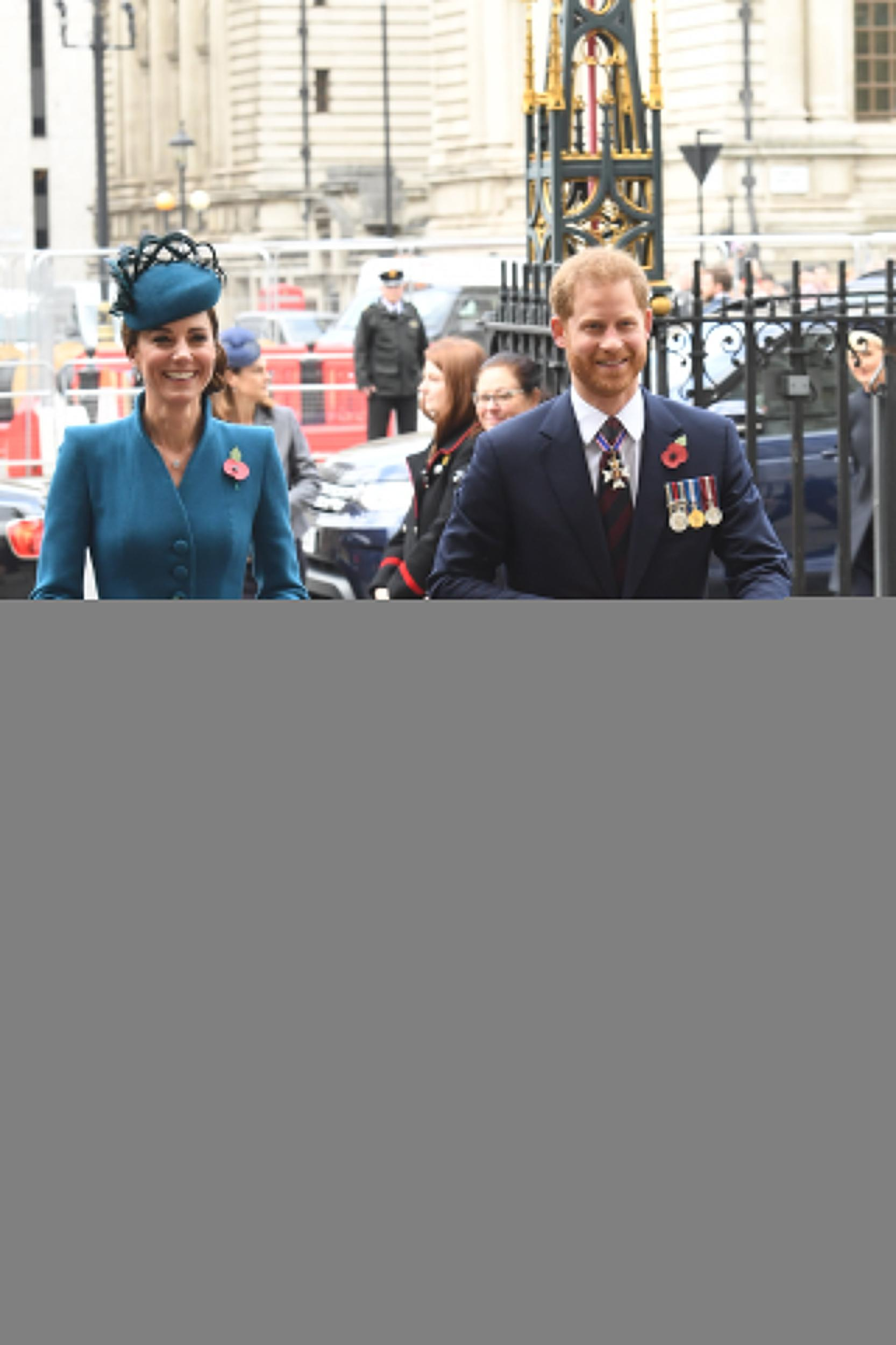 LONDON, ENGLAND - APRIL 25:  Catherine, Duchess of Cambridge and Prince Harry, Duke of Sussex attend the ANZAC Day Service of Commemoration and Thanksgiving at Westminster Abbey on April 25, 2019 in London, United Kingdom.  (Photo by Jeremy Selwyn-WPA Pool/Getty Images)