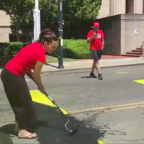 Man 'pulls gun' on Black Lives Matter protester after Trump supporters deface mural