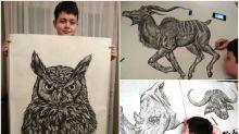 【有片】15歲繪畫小神童 專畫動物全部比例記入腦