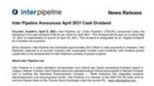 Inter Pipeline Announces April 2021 Cash Dividend