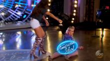 Katy Perry takes a tumble and flashes fellow 'American Idol' judges