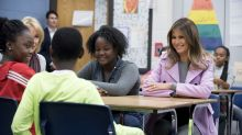 Melania Trump wears $2,950 pink coat to promote anti-bullying campaign in Michigan