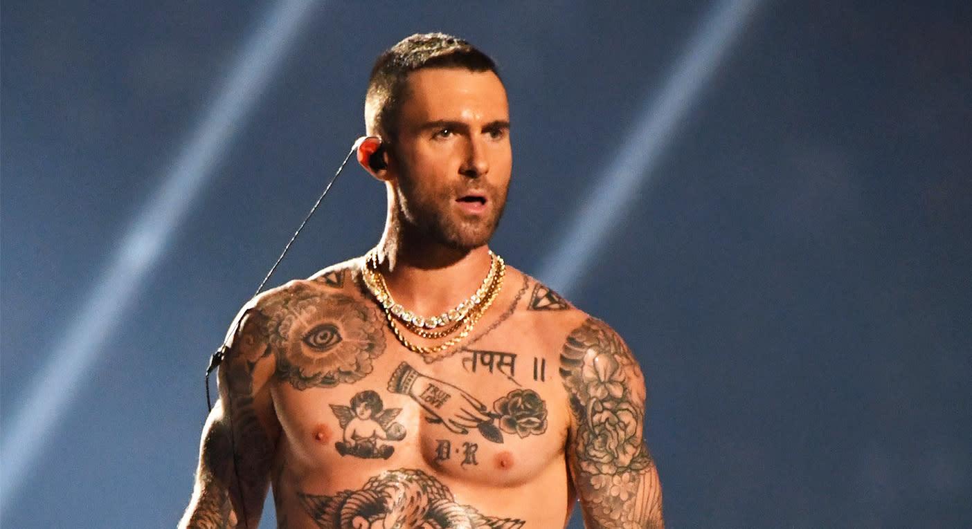 7093ba1c Adam Levine bared his nipples at the Super Bowl last night. [Photo: Getty]
