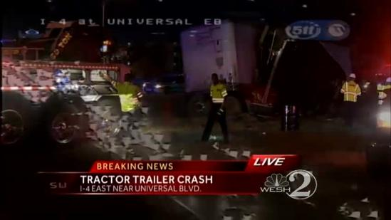 Tractor-trailer crashes on I-4 at Universal Blvd.