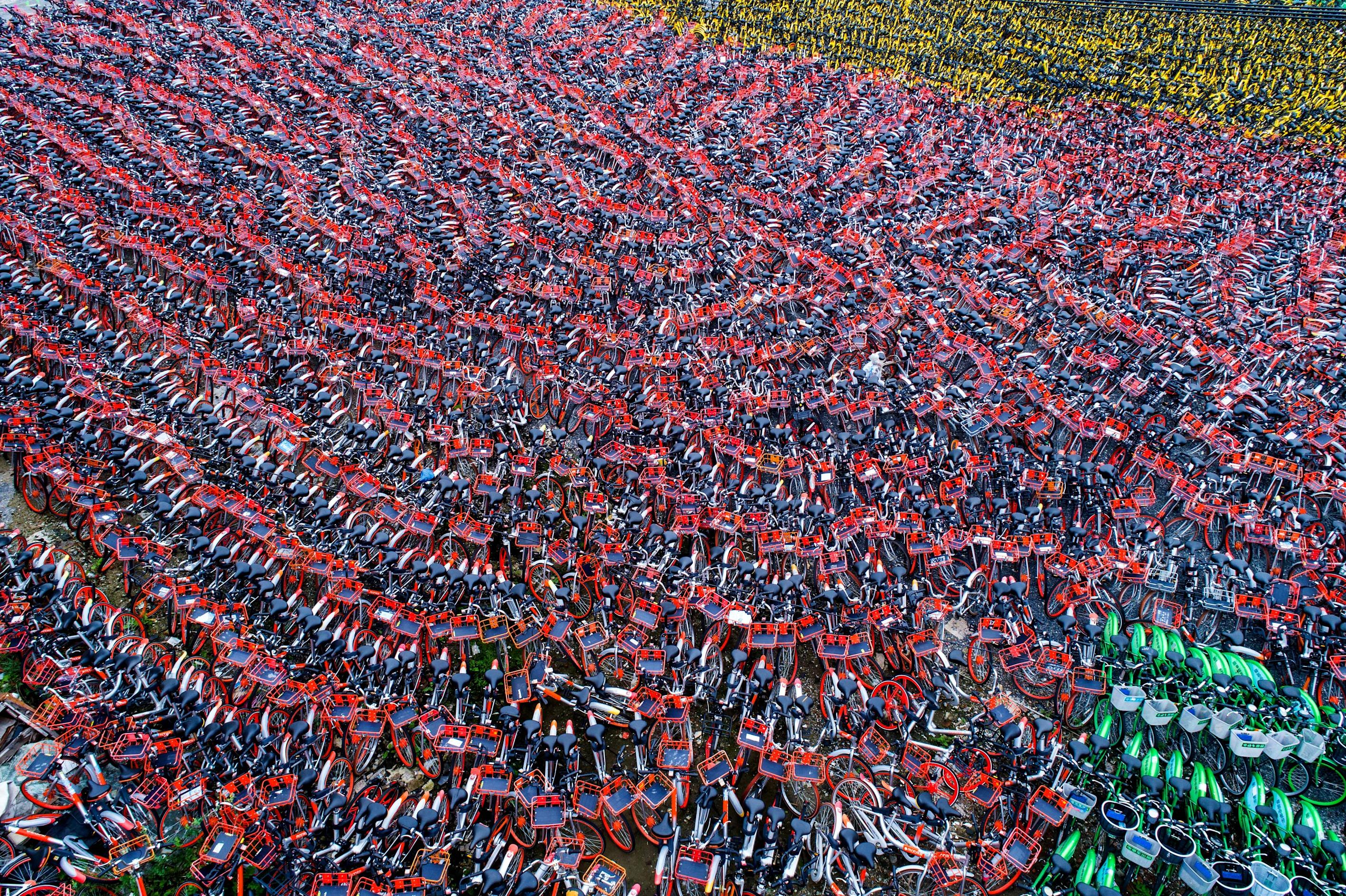 <p>A huge collection of abandoned and unused bikes in Shanghai, China.(Photo: <span>Mathias Guillin</span>/Caters News) </p>