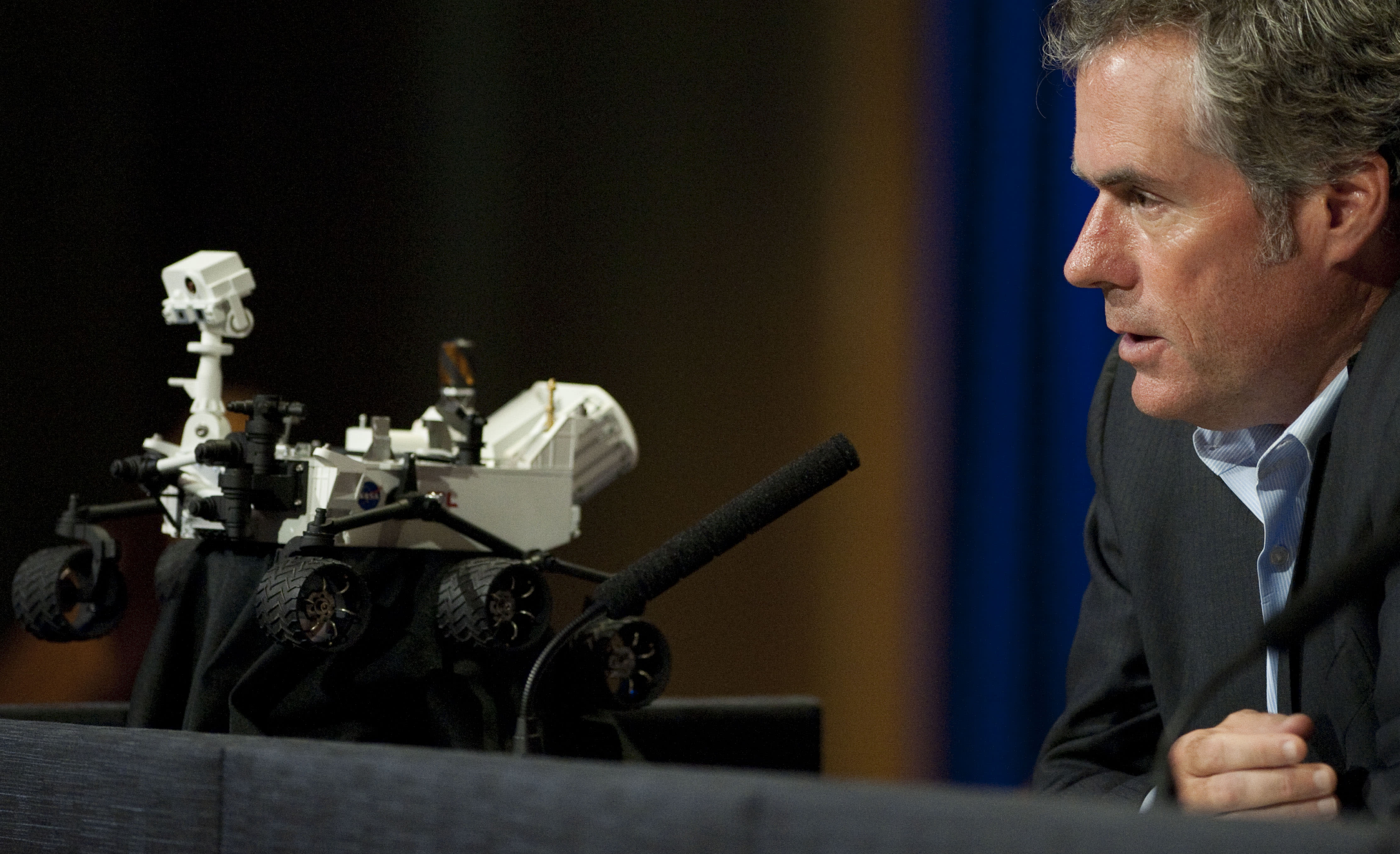Michael Watkins, MSL mission manager, Jet Propulsion Laboratory, answers questions during an update news conference on Curiosity Mars Rover at NASA's Jet Propulsion Laboratory in Pasadena, Calif., Thursday, Aug. 9, 2012. (AP Photo/Grant Hindsley)