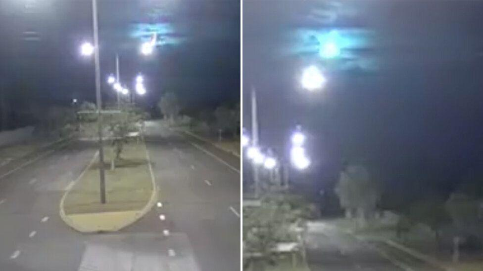 Extraordinary moment police CCTV captures meteor shower