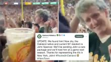 A's fan soaked in beer partied with Yankees fan who threw it
