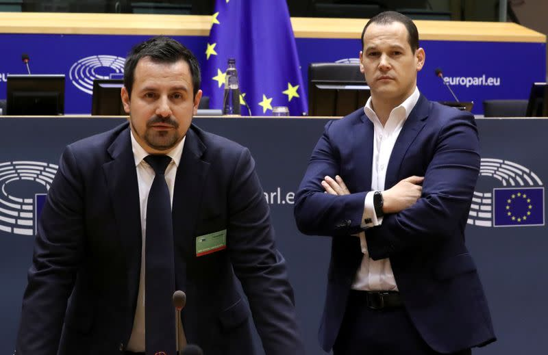 FILE PHOTO: Frenchman Vincent Fichot and Italian Tommaso Perina pose for Reuters in Brussels