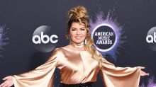 Shania Twain Returns to the 2019 AMAs Red Carpet in Dramatic High-Shine Look