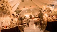 Bride walks down the aisle in giant inflatable balloon