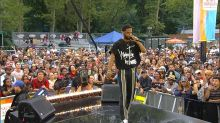 Big Sean performs a special medley of 'Mercy' live in Central Park