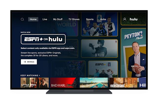 ESPN+ live sports and originals are now available on Hulu