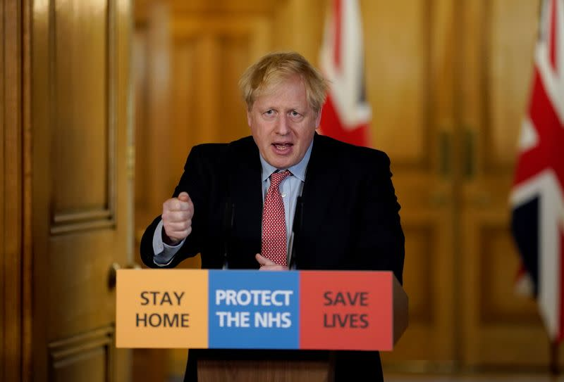 Britain's Prime Minister Boris Johnson speaks during his first remote news conference on the coronavirus disease (COVID-19) outbreak, in London