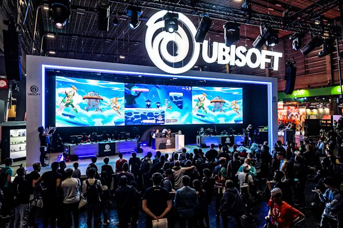 Competitors play to   the game BRAWLHALLA  during the exhibition of UBISOFT at the Porte de Versailles exhibition center during the 10th edition of Paris Games Week 2019 fair - November 01, 2019, Paris. (Photo by Daniel Pier/NurPhoto via Getty Images)