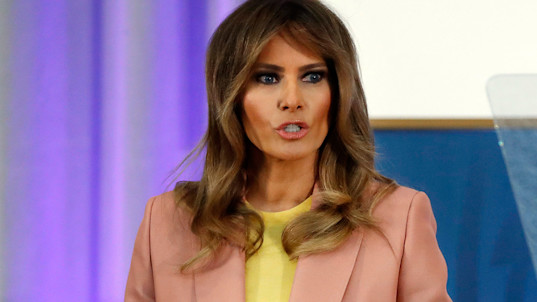 First lady speaks at event a day after model's tell-all
