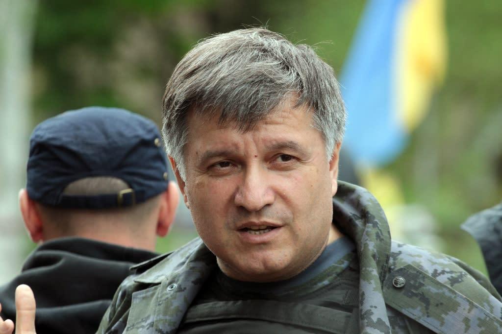 Ukraine's interior minister Arsen Avakov pictured at a checkpoint near the eastern Ukrainian city of Slavyansk on May 5, 2014
