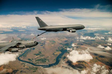 File Photo: Boeing's KC-46 aerial refueling tanker conducts receiver compatibility tests with a U.S. Air Force C-17 Globemaster III from Joint Base Lewis-McChord, in Seattle