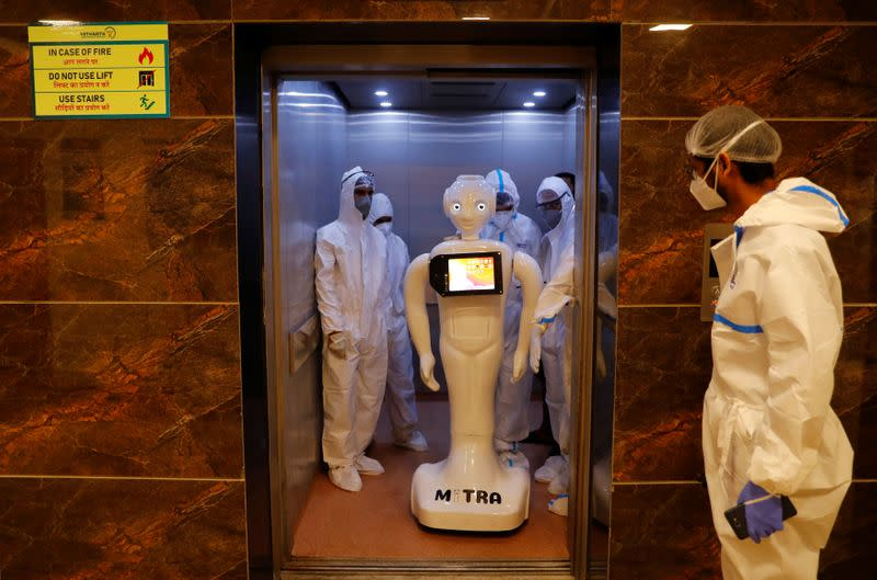 A robot named 'Mitra', which is used by the patients suffering from the coronavirus disease (COVID-19) to communicate with their relatives, is seen inside a lift of a Hospital in Noida