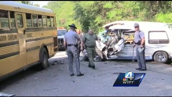 Van crashes into school bus, kills van driver