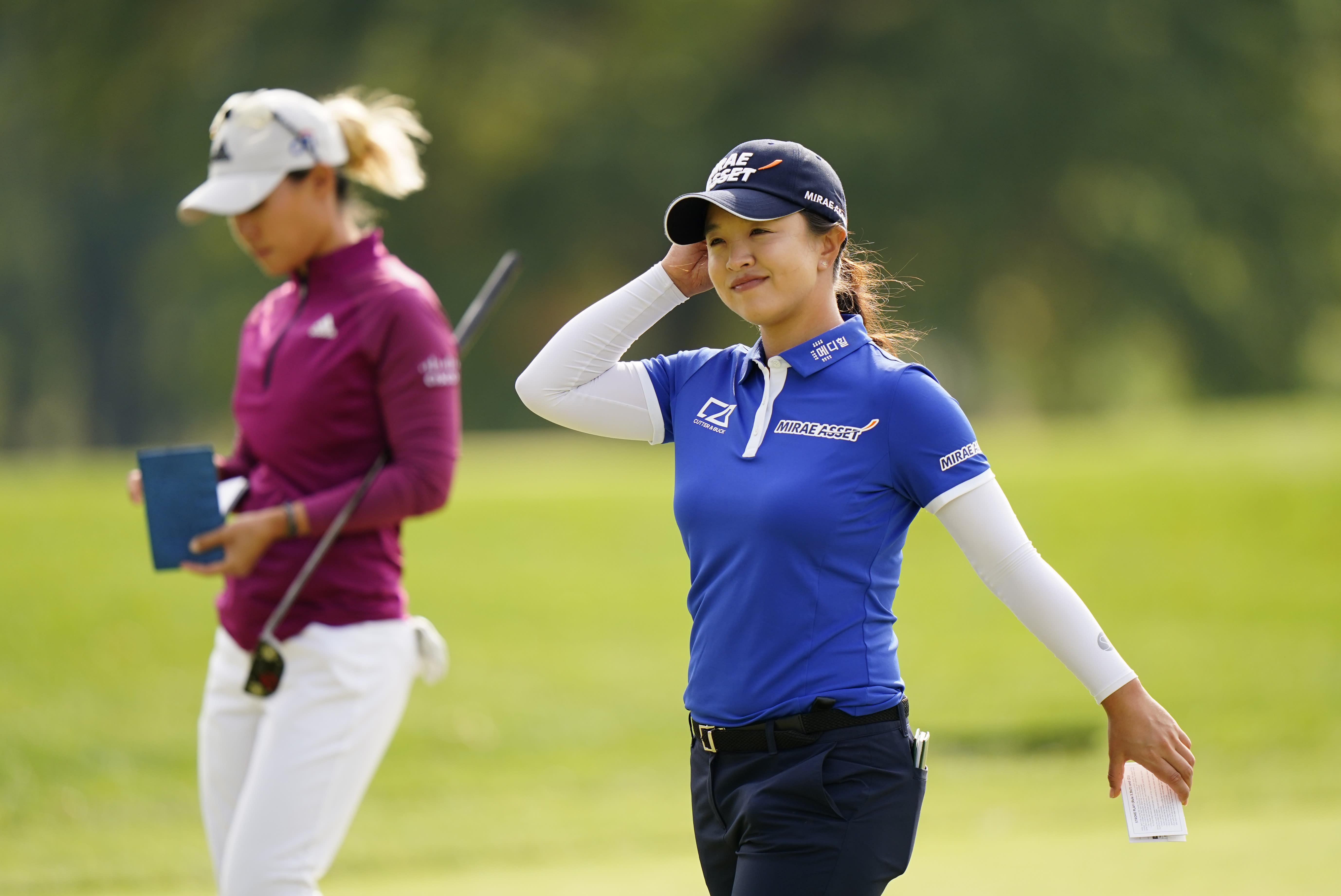 Sei Young Kim, of South Korea, smiles as she walks off the 18th green during the third round at the KPMG Women's PGA Championship golf tournament at the Aronimink Golf Club, Saturday, Oct. 10, 2020, in Newtown Square, Pa. (AP Photo/Matt Slocum)