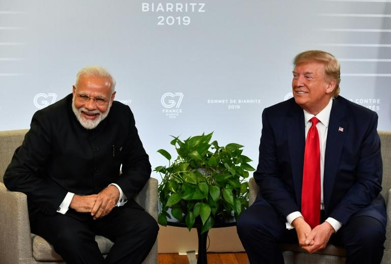 Indian Prime Minister Narendra Modi and US President Donald Trump meet in Biarritz, France during a Group of Seven summit in August 2019 (AFP Photo/Nicholas Kamm)