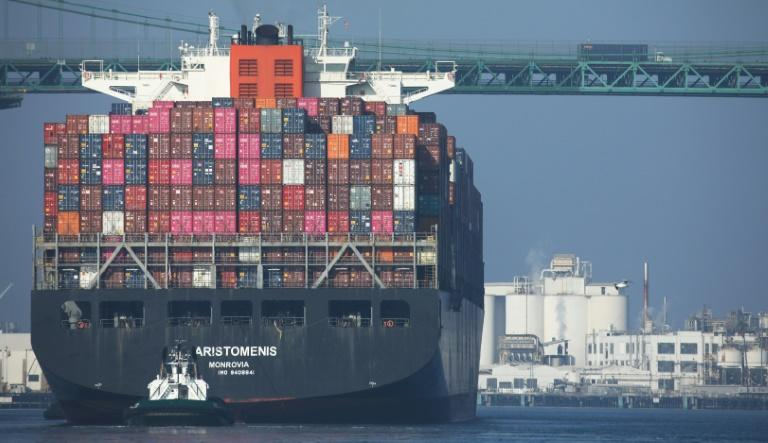 A cargo ship arrives into the Port of Los Angeles, the busiest container port in the United States, after departing from the Port of Yantian, China