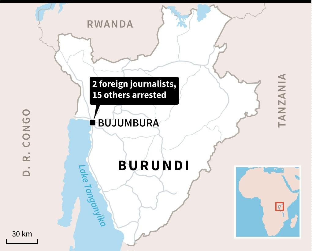 Map of Burundi locating the capital Bujumbura, where 2 foreign journalists and 15 other people have been arrested. (AFP Photo/Vincent LEFAI, Jean Michel CORNU)