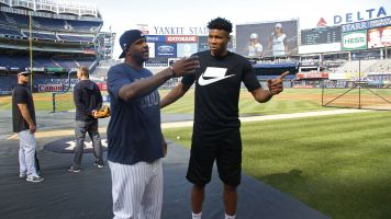 NBA star has tough time at batting practice