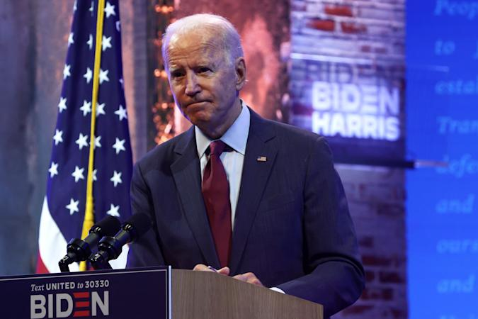 WILMINGTON, DELAWARE - SEPTEMBER 27: Democratic presidential nominee Joe Biden speaks during a campaign event on September 27, 2020 in Wilmington, Delaware. Biden spoke on President Trump's new U.S. Supreme Court nomination. (Photo by Alex Wong/Getty Images)